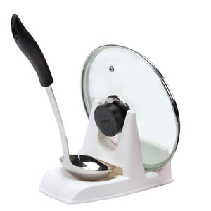 Pot Lid Stand With Spoon Holder