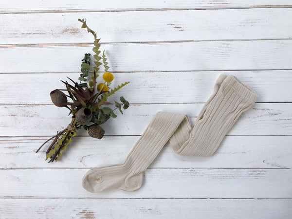 Linen Ribbed Tights