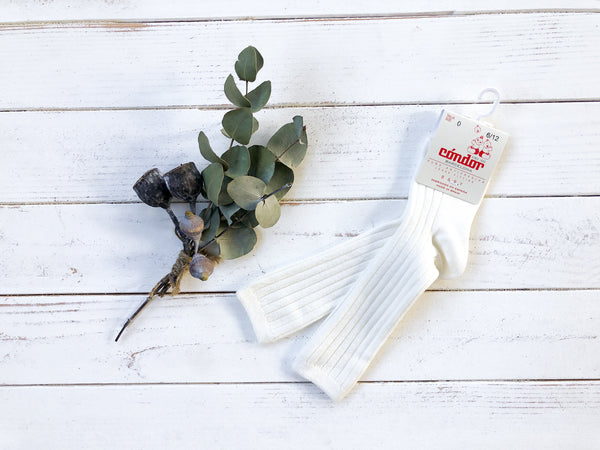 Off White Ribbed Knee High Socks