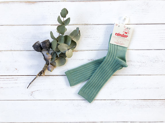 Jade Ribbed Knee High Socks