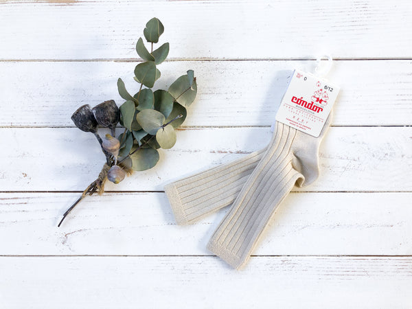 Linen Ribbed Knee High Socks