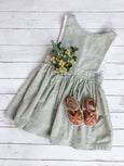 Sage Stripe Pinafore Dress