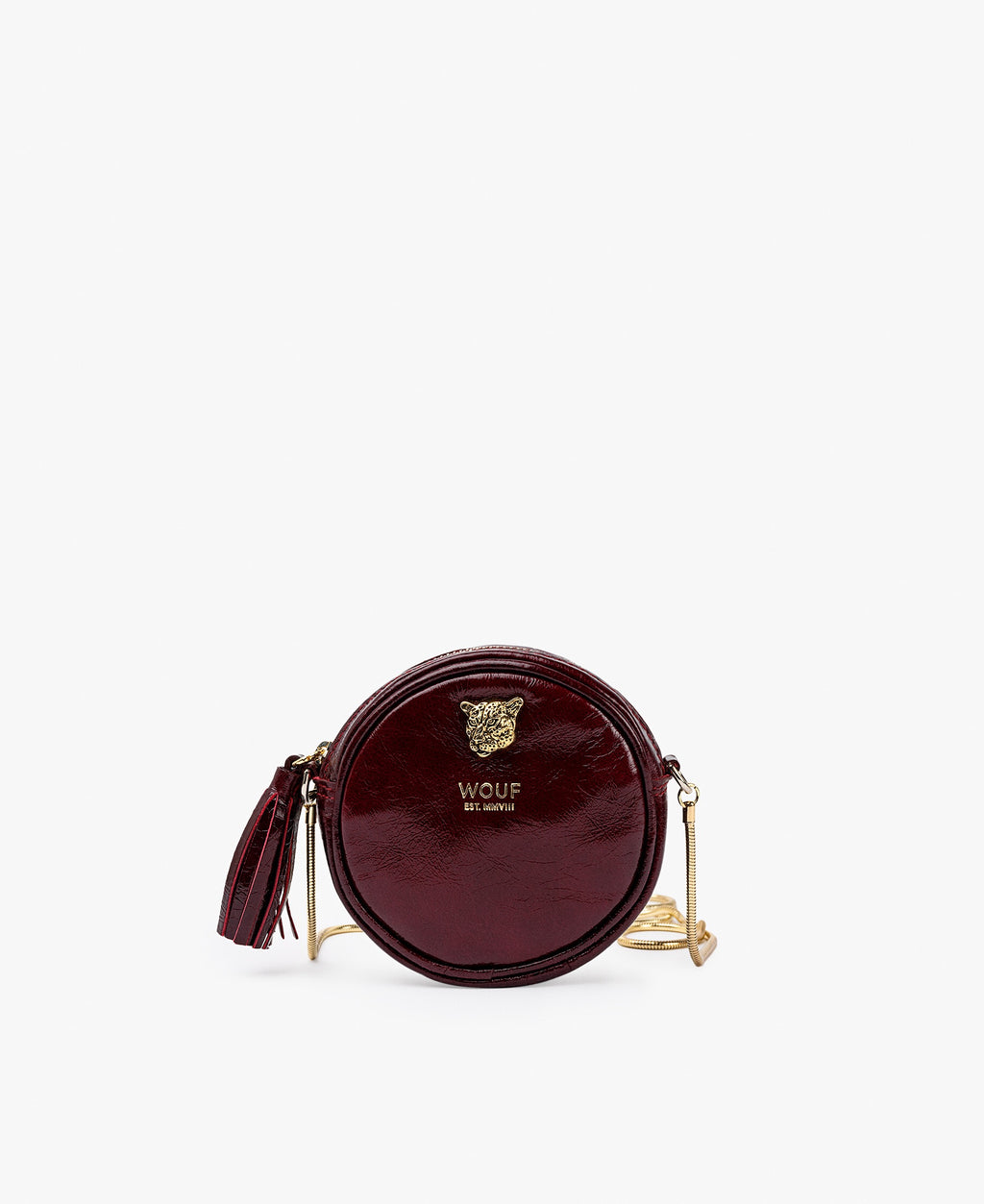 WOUF Burgundy Tiger Circle Mini Bag