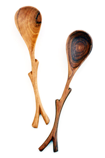 Hand Carved Wild Olive Wood Branch Spoon or Spreader