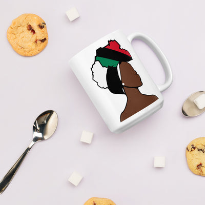 African American Head Wrap Queen White Glossy Mug