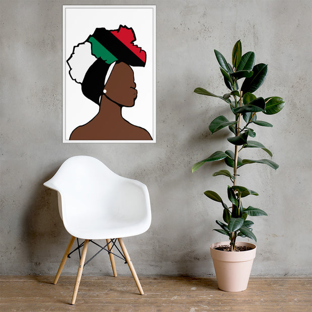 African American Head Wrap Queen Framed Poster