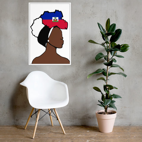 Haiti Head Wrap Queen Framed Poster