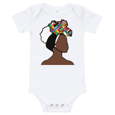 African Countries Head Wrap Queen Baby Short Sleeve One Piece