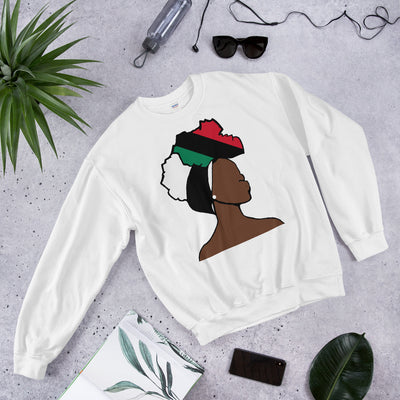 African American Head Wrap Queen Unisex Crew Neck Sweatshirt