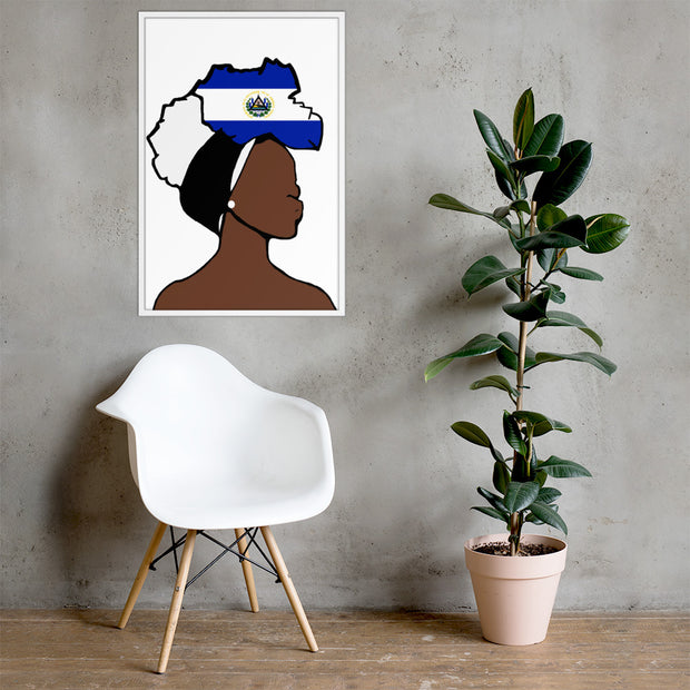 El Salvador Head Wrap Queen Framed Poster