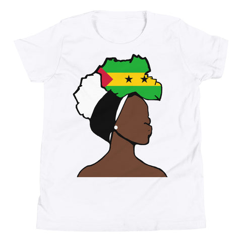 SaoTome Principe Head Wrap Queen Youth Premium Tee