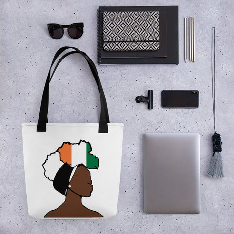 Cote d'Ivoire Head Wrap Queen Tote Bag