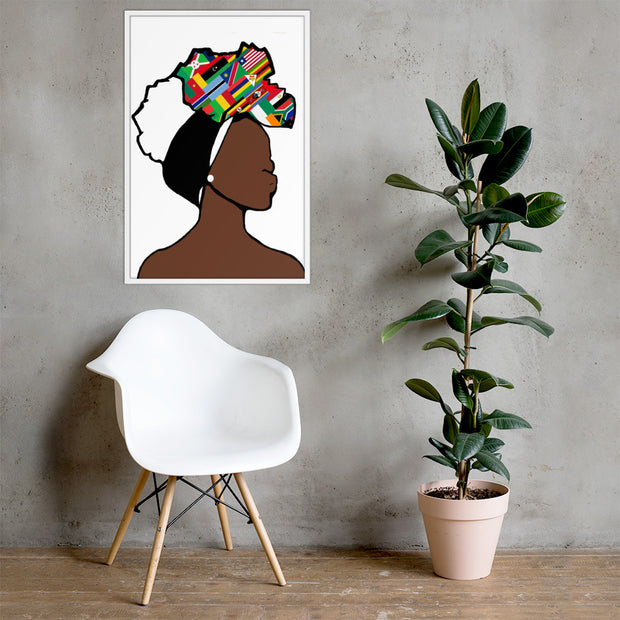 African Countries Head Wrap Queen Framed Poster