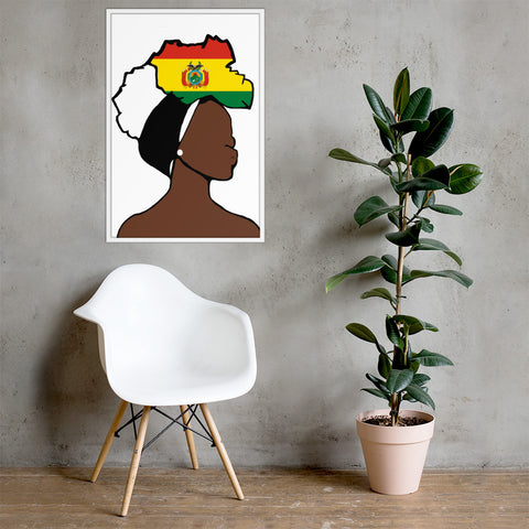 Bolivia Head Wrap Queen Framed Poster