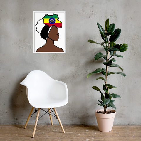 Ethiopia Head Wrap Queen Framed Poster