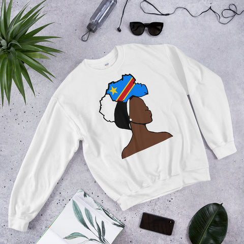 Congo DR Head Wrap Queen Unisex Crew Neck Sweatshirt