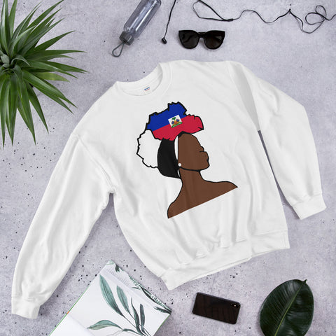 Haiti Head Wrap Queen Unisex Crew Neck Sweatshirt