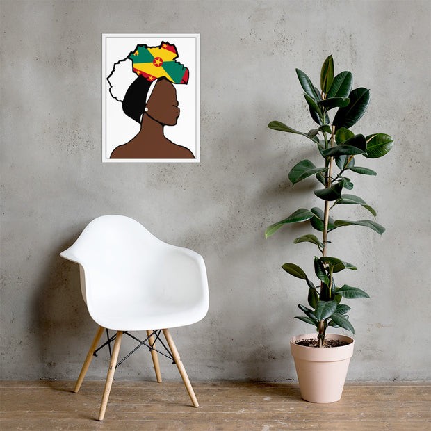 Grenada Head Wrap Queen Framed Poster