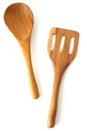 Kenyan Olive Wood Spatula Salad Servers