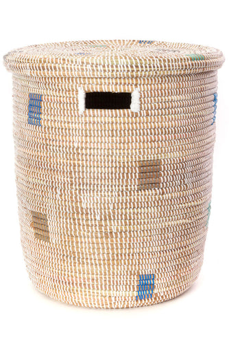 Senegal White Peace Corps Hamper with Shades of Blue Dots