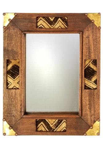 Kenyan Wooden Mirror with Kuba Cloth