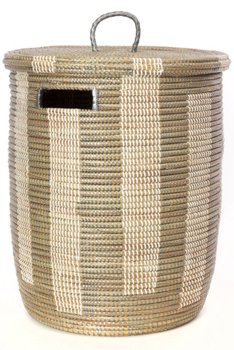 Senegal Silver and White Boulevard Basket with Flat Lid