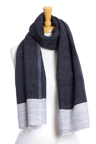 Black Ethiopian Cotton Luxe Scarf with Gray Border
