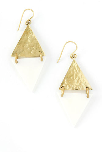 Kenyan Art Deco Bone and Brass Diamond Earrings