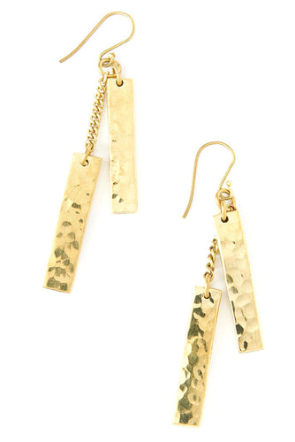 Kenyan Hammered Brass Equilibrium Earrings