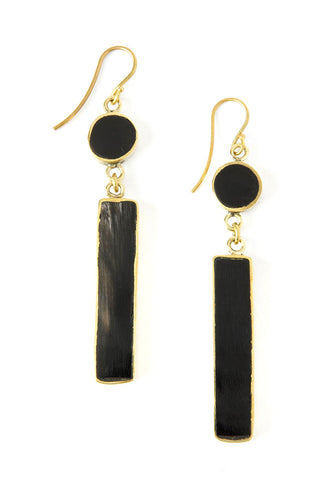 Kenyan Cow Horn & Brass Imperative Earrings