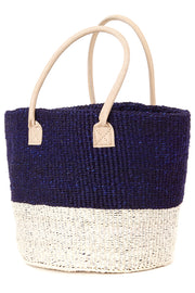 Nyiva Sisal Tote in Blue & White with Leather Handles