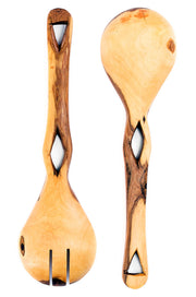 Kenyan Olive Wood Eyelet Salad Servers - Plain
