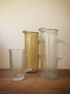 tall textured glass pitcher
