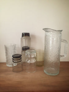 tall textured glass pitcher - clear