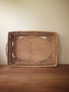 intricately woven cane tray