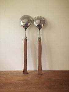 scandinavian teak handled salad servers