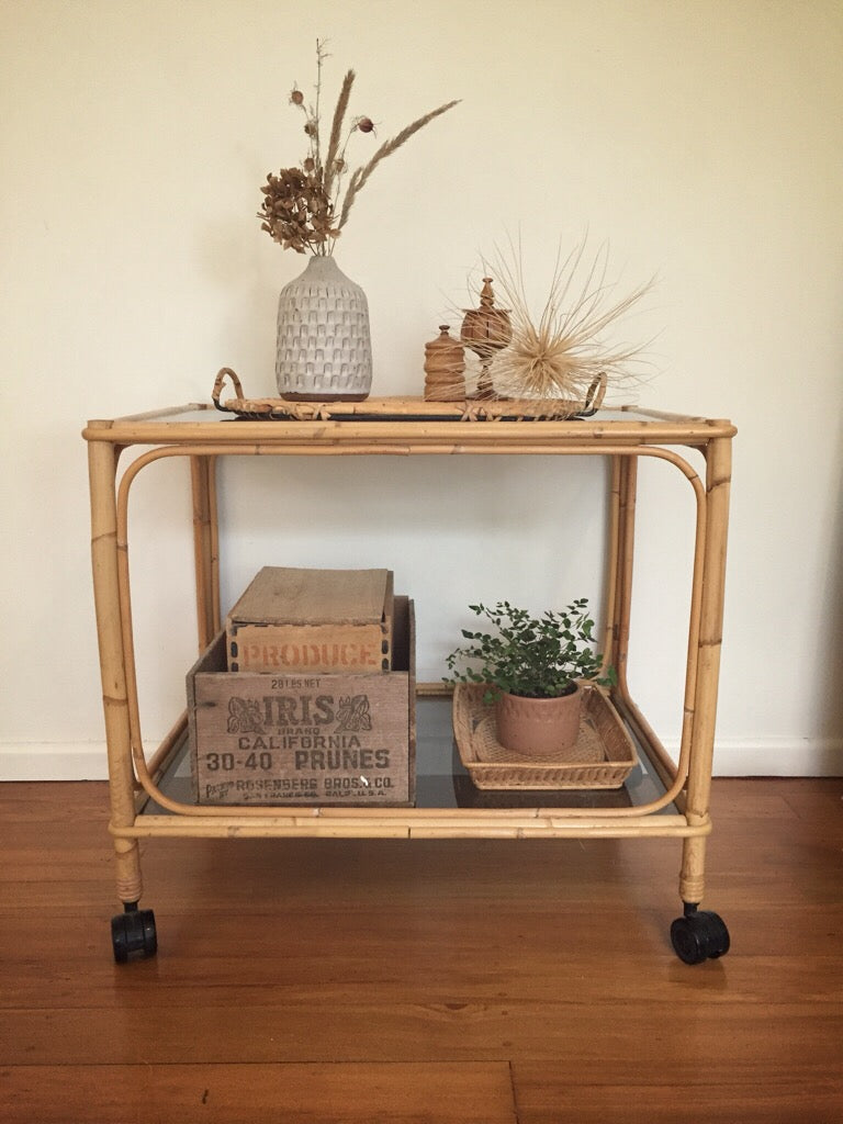 cane tea trolley - on wheels