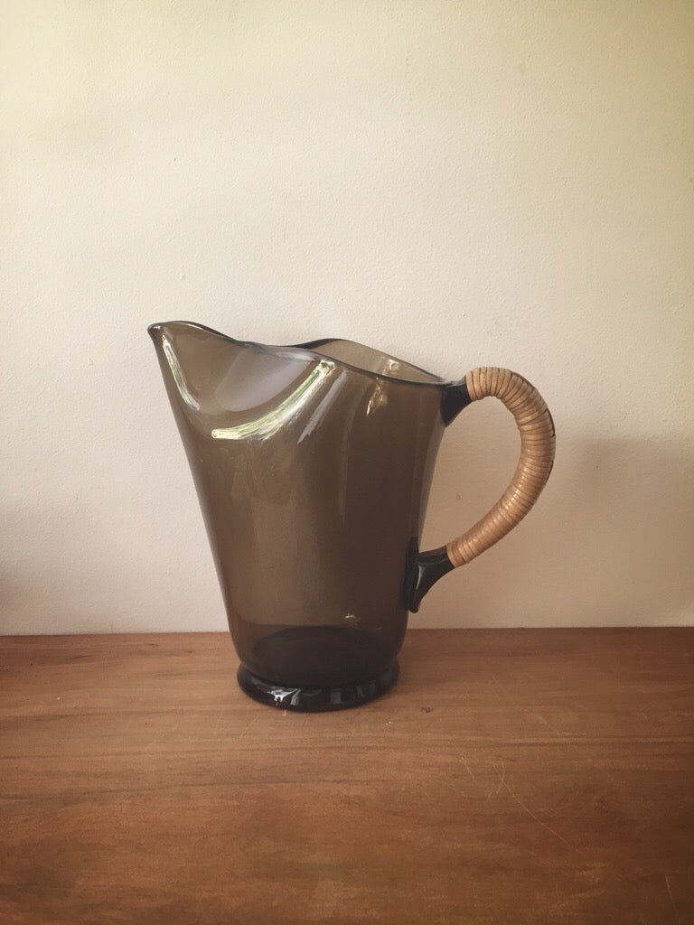 hand blown glass jug - cane handle