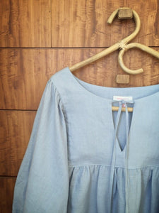 SOLD OUT - 100% linen smock top - pale blue