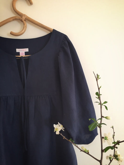 SOLD OUT - 100% linen smock top - ink