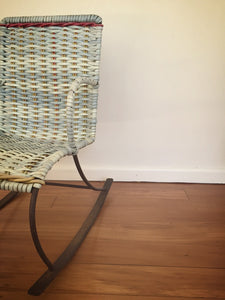 childs baby blue wicker rocking chair