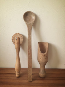 vintage wooden utensils - set of 3