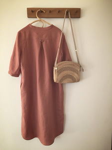 100% linen 3 button dress - ochre