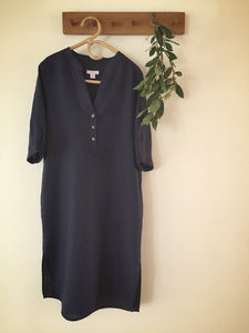 SOLD OUT - 100% linen 3 button dress - ink