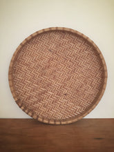 round cane stamped tray