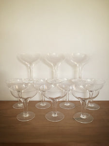 set of 10 hollow stem champagne glasses