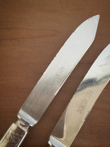 pair of antique silver plated butter knives