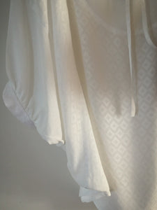 100% viscose tie neck drape blouse - off white