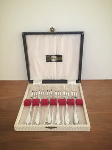 boxed set of silver plated dessert forks - made in england
