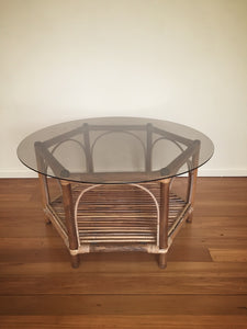 vintage bamboo table with glass top